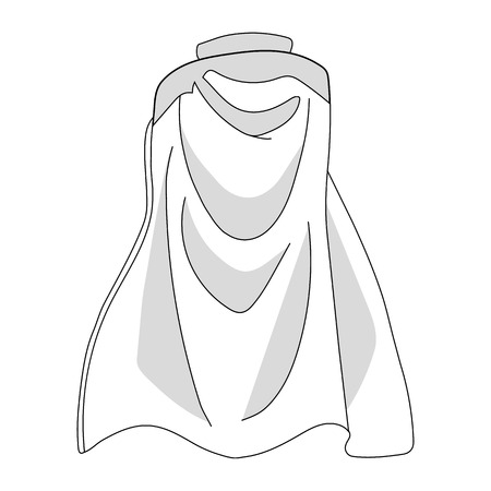 White Colorful Cloak isolated on white background. Cartoon Cape, Mantle. Vector Illustration for Your Design, Game, Card.