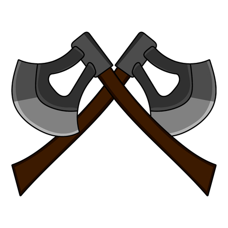 Cartoon Crossed Axe isolated on white background. Weapon for Computer Game Design. Medieval Axe. Vector illustration for Your Design, Game, Card. Illustration
