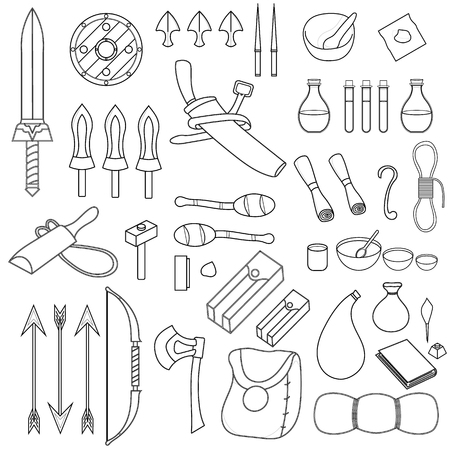 Collection of 46 Items for Adventure isolated on white background. Adventurer Equipments. Medieval Weapons, Bags, Magic Potions, Crockery, Torchs, Bow, Scroll. Vector illustration for Your Design.