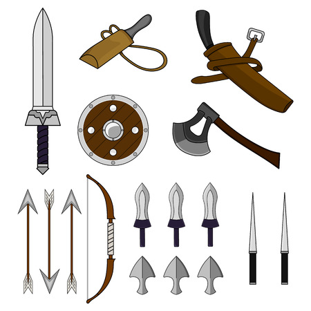 Cartoon Set of Different Weapons isolated on white background. Shield,Bow, Axe, Sword, Dagger, Stylet, Knife. Medieval Equipment. Adventure Items. Vector illustration for Your Design, Game, Card, Web.