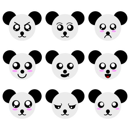 Collection of Panda Smiley Faces isolated on white background. Different Emotions. Vector Illustration for Your Design, Game, Card. Ilustração