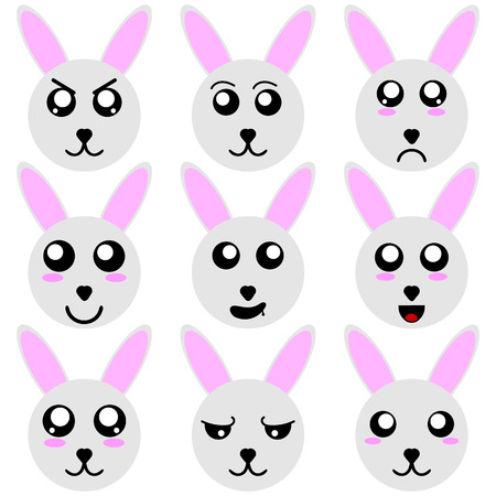 Collection of Rabbit Smiley Faces isolated on white background. Different Emotions. Vector Illustation for Your Design, Game, Card.