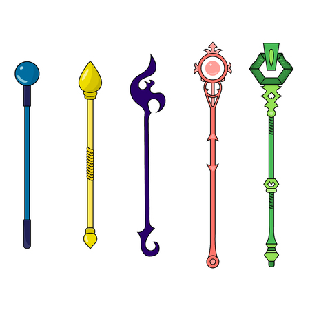 Set of Different Magic Staffs isolated on white background. Wizard Items. Vector Illustration for Your Design, Game, Card, Web.
