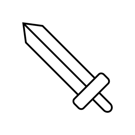 Icon Outline Sword isolated on white background. Weapon Icon. Vector illustration for design, game, card, web.