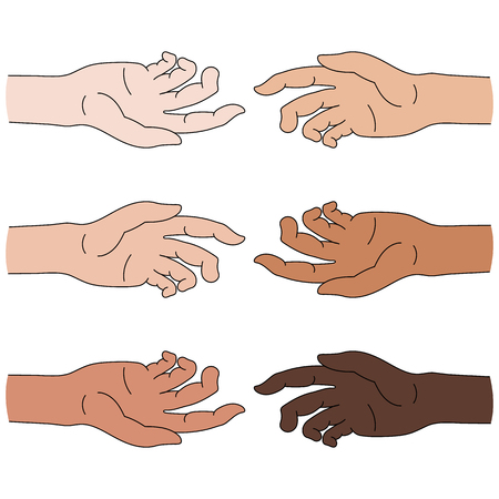 Multinational Help. Race equality. Helping Hand Icon isolated on white background.Vector illustration for Your Design.