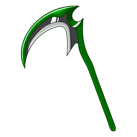 Cartoon Green Weapon Scythe isolated on white background. Game Design Equipment. Tool of Death. Vector Illustration for Your Design, Game, Card, Web. Foto de archivo - 122385236