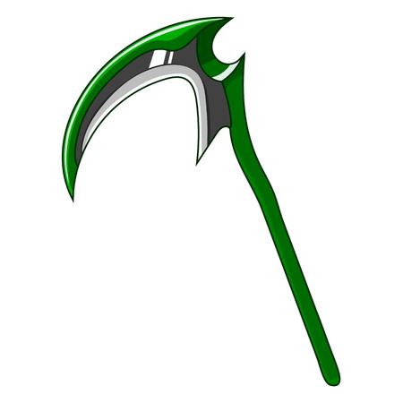 Falce arma verde del fumetto isolata su priorità bassa bianca. Attrezzature per la progettazione di giochi. Strumento di morte. Illustrazione vettoriale per il tuo design, gioco, carta, web.