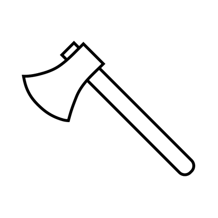 Icon outline silhouette of axe isolated on white background. Sign symbol. Decoration element. Weapon icon. Vector illustration for your design, game, card, web.