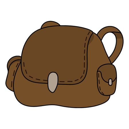 Leather Bag isolated on white background. Cartoon Handbag for Travel, Camping. Vector illustration for Your Design, Game, Card, Web.