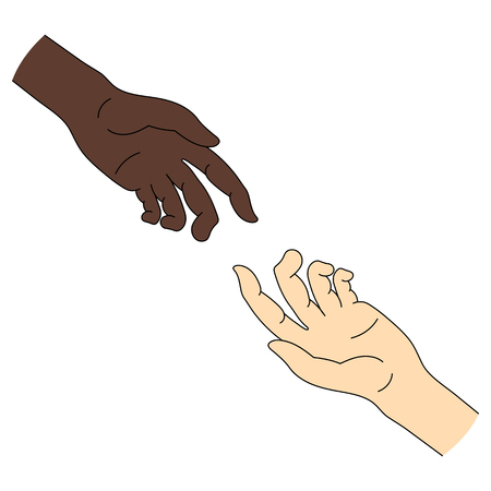 Multinational Help. Race equality. Helping Hand Icon isolated on white background.Vector illustration for Your Design. Stock Vector - 122385245