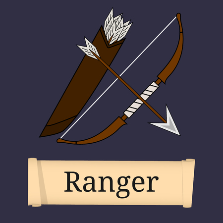 Ranger Class. Attributes of ranger isolated on white background. Select your class. Vector illustration. Ilustração