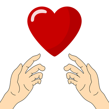 Concept of Charity and Donation. Hands Give Love. Give and share your love to people. Valentines Day. Vector illustration.