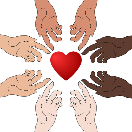 Concept of Charity and Donation. Hands Give Love. Race Equality. Everyone Deserves Love. Give and Share Your Love to People. Vector Illustration. Illustration