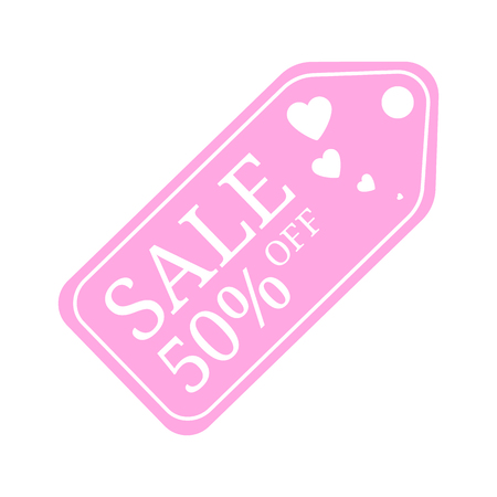 Special offer sale tag discount for Valentines Day. 50% OFF Sale Discount Banner. Special offer price signs. Sale Pink Label isolated on white background. Vector Illustration.