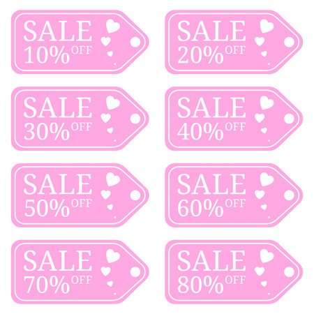 Special Offer Sale Tag Discount for Valentines Day. Sale Discount Banner. Special Offer Price Signs. Sale Label isolated on white background. Vector Illustration.