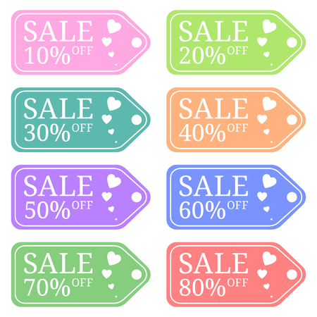 Colored Special Offer Sale Tag Discount for Valentines Day. Sale Discount Banner. Special Offer Price Signs. Sale Label isolated on white background. Vector Illustration.