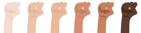 Raised Fists isolated on white background. Symbol of Unity, Revolution, Protest, Cooperation and Solidarity. Race Equality. Vector Illustration.