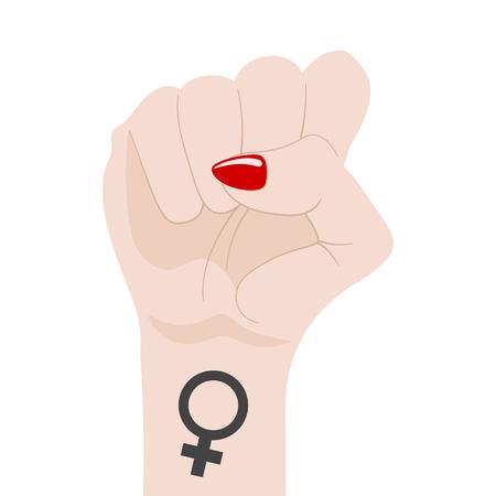 Woman's Fist Raised Up isolated on white background. Female Symbol. Girl Power. Feminism concept. Vector Illustration. Ilustração