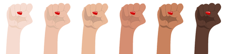 Womans hands with her fist raised up. Symbol of Unity, Revolution, Protest, Cooperation and Solidarity. Race Equality. Girl Power. Feminism concept. Realistic style vector illustration. Çizim