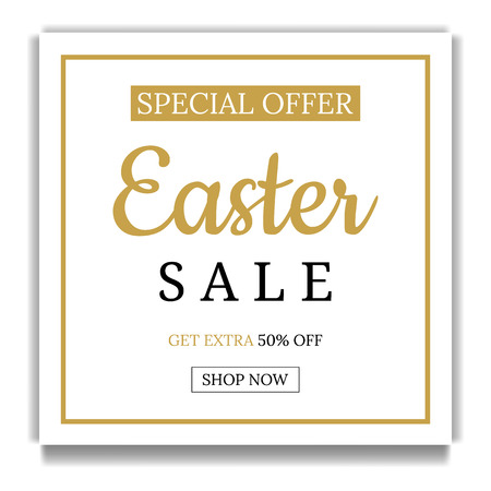 Easter Sale Banner Template Background. Square Frame. Voucher, wallpaper,flyers, invitation, posters, brochure, coupon discount,greeting card. Vector illustration.