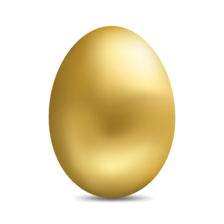 Realistic golden egg isolated on white background. Easter egg for greeting card.