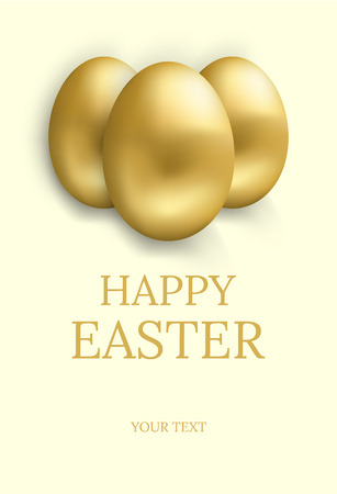 Easter card. Happy easter greetings card with golden eggs and space for text. Vector illustration. Illustration
