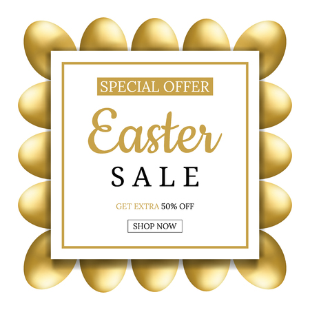 Easter Sale Banner with Golden Eggs. Square Frame of Eggs. Voucher, wallpaper,flyers, invitation, posters, brochure, coupon discount,greeting card. Vector illustration.