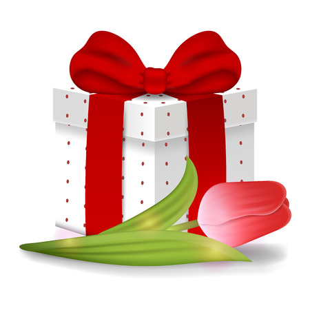 Realistic Vector 3d Gift Box with Red Tulip isolated on white background. Red Bow. Element for Various Holiday Designs. Valentine's day, Women's Day, Celebrations, Birthdays.