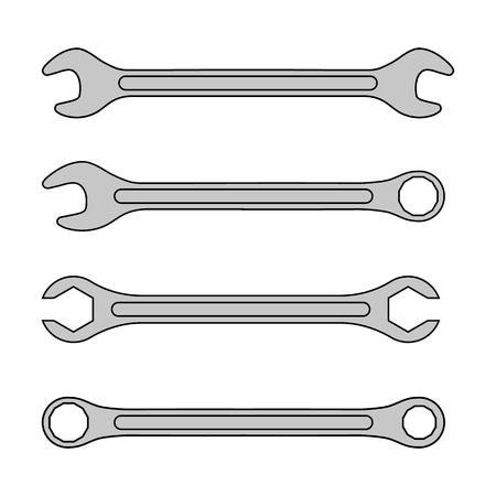 Satz verschiedene Schraubenschlüssel-Symbol. Reparatursymbol. Vektorillustration lokalisiert auf weißem Hintergrund.