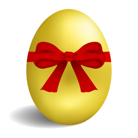 Realistic golden egg with red bow isolated on white background. Easter egg for greeting card. Vector illustration.