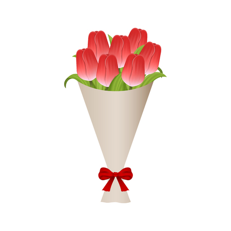 Bouquet of Red Tulips in Paper with Red Bow. Gift Bouquet of Flowers. Vector Illustration for Your Design isolated on white background.