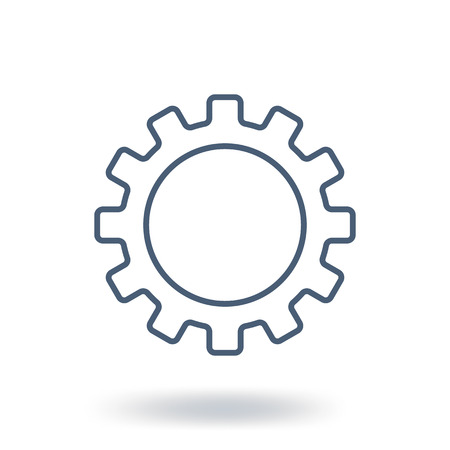 Outline Gear Icon. Setting symbol. Flat style. Vector illustration isolated on white background.