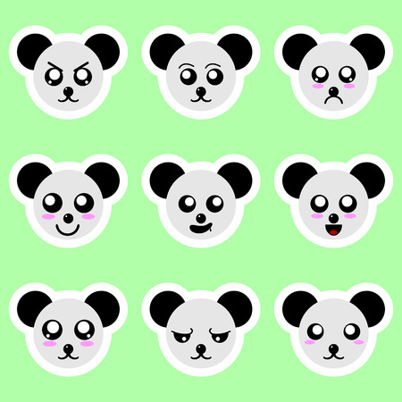 Set of panda stickers. Different emotions, expressions. Sticker in anime style. Vector Illustration for your design. Standard-Bild - 122385365
