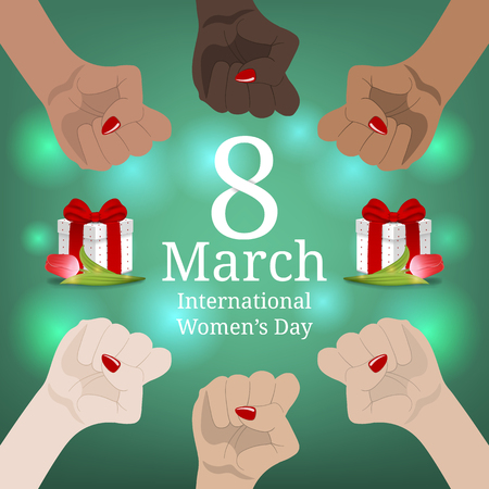 International Women's Day Banner. Women's March. Multinational Equality. Female hand with her fist raised up. Girl Power. Feminism concept. Vector illustration for Your Design.