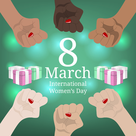 International Womens Day Banner. Womens March. Multinational Equality. Female hand with her fist raised up. Girl Power. Feminism concept. Vector illustration for Your Design. Illustration
