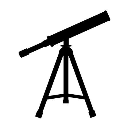 Vector Telescope Icon. Silhouette of telescope. Black fill icon. Vector illustration for your design