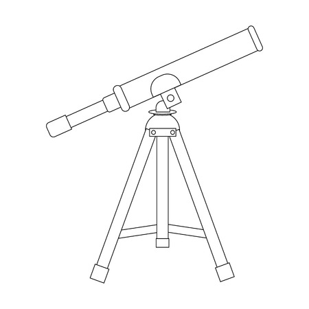 Vector Telescope Icon. Silhouette of telescope. Outline icon. Vector illustration for your design