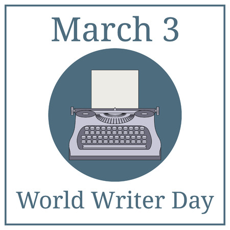 World Writer Day. March holiday calendar. March 3. Typewriter Machine. Journalist equipment. Vintage tehnology. Keyboard. Antique equipment. Vector illustration for your design.