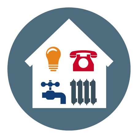 Set of 4 Utilities Icons in Home. Symbols of Power, Water, Gas, Heating. Vector illustration for Your Design