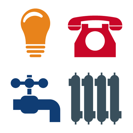 Set of 4 Utilities Icons. Symbols of Power, Water, Gas, Heating. Vector illustration for Your Design