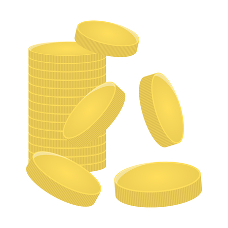 A mountain of gold coins. Bank, finance concept. Game item design. Vector illustration isolated on white background