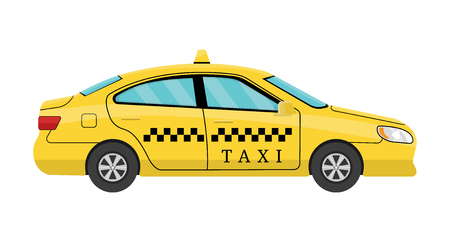 Car Taxi in Flat Style. View from Side. Taxi Yellow Car Cab isolated on white background. For Taxi Service App, Transport Company Ad, Infographics. Vector illustration for Your Design Stock Illustratie