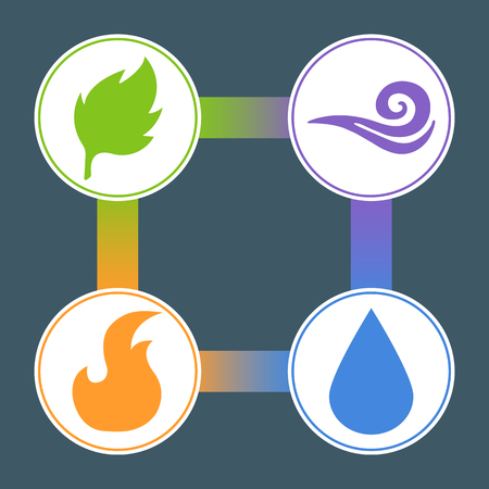 Four Elements: Fire, Water, Earth, Air. Superiority of the Elements. Nature Element Stickers. Vector illustration for your design.