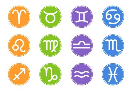 Set di icone di segni zodiacali. Elemento zodiacale. Segni dell'oroscopo: Leone, Vergine, Scorpione, Bilancia, Acquario, Sagittario, Pesci, Capricorno, Toro, Ariete, Gemelli, Cancro. Illustrazione vettoriale per il tuo design. Vettoriali