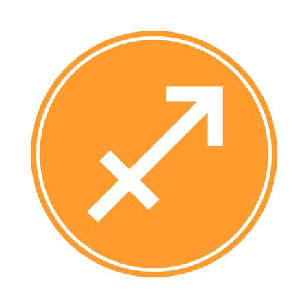 Sagittarius Icon. Vector Astrological, Horoscope Sign. Zodiac Symbol. Fire Element. Sticker. Vector illustration isolated on white background. Ilustrace