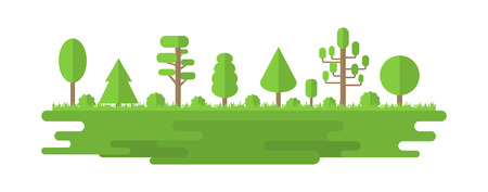 Forest, Park, Alley with Different Trees. Summer Forest Panorama. Ecology Concept. Vector illustration isolated on white background Illustration