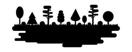 Forest, Park, Alley with Different Trees. Black Silhouette Panorama. Vector illustration isolated on white background  イラスト・ベクター素材