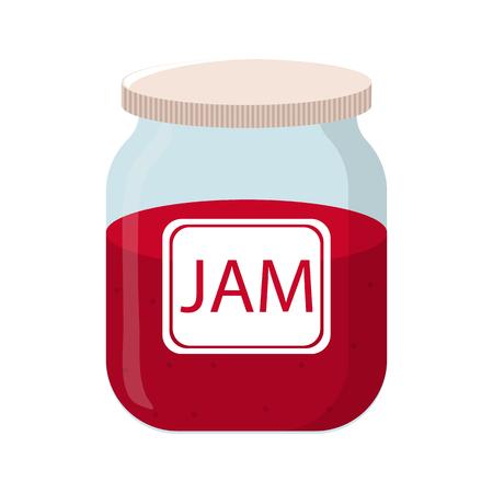 Vector Jam Jar isolated on white backgroud. Natural Healthy Food Production Jam. Vector illustration for Your Design Standard-Bild - 122385427