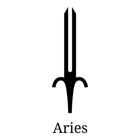 Aries Sword Icon. Silhouette of Zodiacal Weapon. One of 12 Zodiac Weapons. Vector Astrological, Horoscope Sign. Zodiac Symbol. Vector illustration isolated on white background