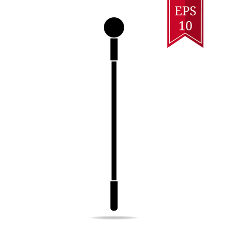 Silhouette Staff Icon isolated on white background. Magic Wand Weapon. Low Grade Mage Wand. Vector Illustration for Design, Game, Card, Web.